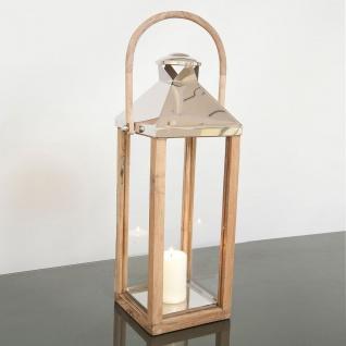 Holländer 240 3514 Laterne Gross Aluminium-Holz-Glas Natur-Silber