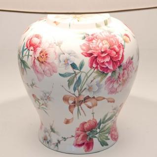 Holländer 014 K 1254 Tischleuchte Rosengarten Keramik Altrosa-Grün-Weiss - Vorschau 2