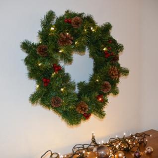 LED Weihnachtskranz mit Dekoration Ø 40cm Tannenkranz mit Deko LED-Dekokranz