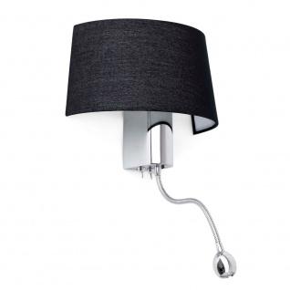Wandlampe HOTEL mit LED-Lesearm IP20 Chrom, Schwarz