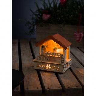 LED Holzsilhouette naturfarben Marktstand mit orangem Dach 3 Warmweiße Dioden batteriebetrieben für Innen