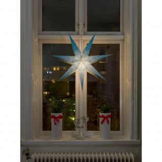 Konstsmide 2982-400 Blauer Papierstern, perforiert und blau bestickt, 7 Zacken, inkl. Anschlusskabel mit an/aus Schalter, ohne Leuchtmittel, E14 Lampenhalterung für Innenbereich