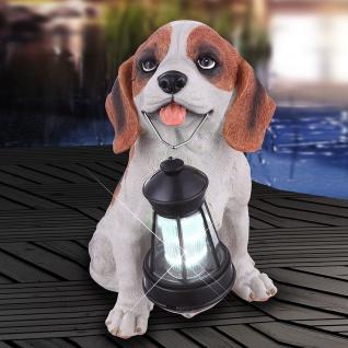 LED Solar Hund mit Laterne 26cm Solar Gartenlampe Gartenleuchte