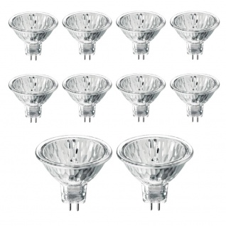 10er-Set GU5, 3 MR16 Halogen Kaltlichtspiegel 540 Candela 20W Halogenlampen