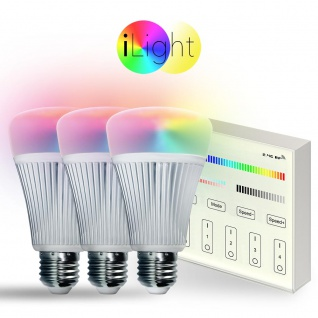 Starter-Set 3x E27 iLight LED + Touch-Panel / RGB+CCT LED Leuchtmittel Lampe