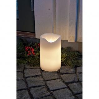 Konstsmide 1951-100 LED Echtwachskerze weiß zerlaufene Wachsoptik 20cm warm weiß flackernde Dioden 24V Außentrafo
