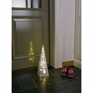LED Kunststoffpyramide mit Sterneffekt klein 16 Warmweiße Dioden 24V Innentrafo