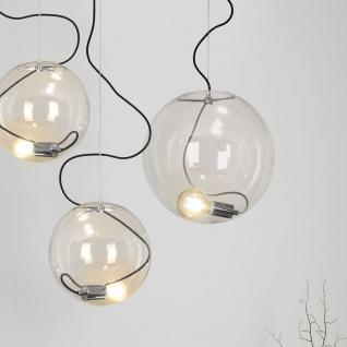 s.LUCE Sphere 40 Pendelleuchte Chrom Klar Glaskugel Pendellampe Glaslampe Glasleuchte