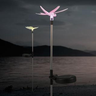LED Solarleuchte Libelle 76cm Dekospieß RGB Farbwechsel Solar Gartenlampe Gartenleuchte