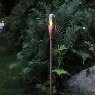Premium XL LED Solar-Fackel in Kupfer 110cm Solar Gartenlampe Gartenleuchte