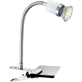 Globo 57996-1K Fina Klemmstrahler Chrom Metall Weiß GU10 LED