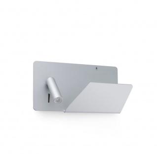 USB Wandlampe SUAU mit rechten LED-Lesespot Grau