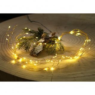 LED Tropfenlametta 10 Stränge mit 20 Dioden 200 Warmweiße Dioden 12V Innentrafo goldfarbener Draht