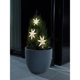 LED Lichtervorhang 3 Acryl Sterne mit Timer 24 Warmweiße Dioden batteriebetrieben für Aussen