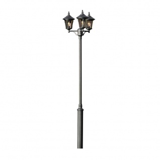 Konstsmide 573-750 Virgo Leuchtenkopf 3-tlg. für Mastleuchte Schwarz rauchfarbenes Acrylglas