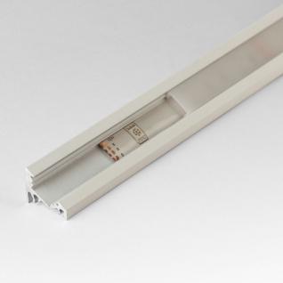 2m Eck-Aluprofil-Erweiterungsset für LED-Strips / Abdeckung matt / Alu Weiss lackiert
