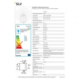 SLV Bedside Links Wandleuchte silbergrau 3W LED 3000K mit blauem Orientierungslicht 146242 - Vorschau 5
