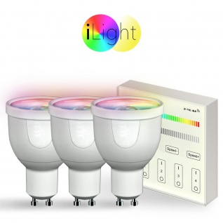 Starter-Set 3x GU10 iLight LED + Touch-Panel RGBW LED Leuchtmittel Lampe Dimmbar 1