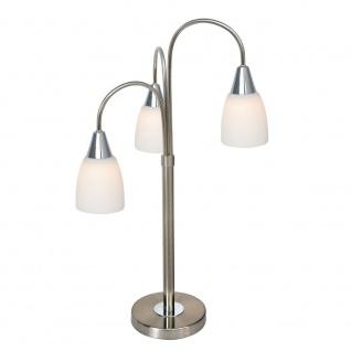 Wofi Casa LED Tischleuchte 3-flammig Nickel matt Chrom Tischlampe