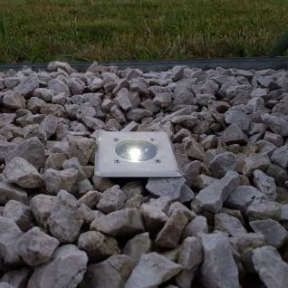 LED Solar-Bodenleuchte eckig mit Edelstahlfront, trittfest Solar Gartenlampe Gartenleuchte