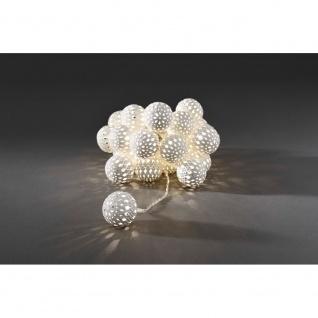 LED Dekolichterkette weiße Metallbälle 24 Warmweiße Dioden 24V Innentrafo