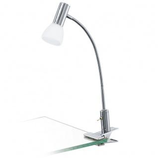 Eglo 94038 Glossy 1 LED Klemmleuchte 1 x 33 W Alu Stahl Chrom Glas satiniert Weiss lackiert