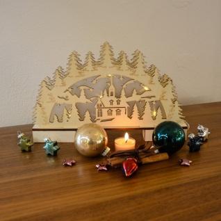 LED Holz-Schwibbogen mit Ornamenten Weihnachtsbogen mit Hologramm-Licht-Effekt