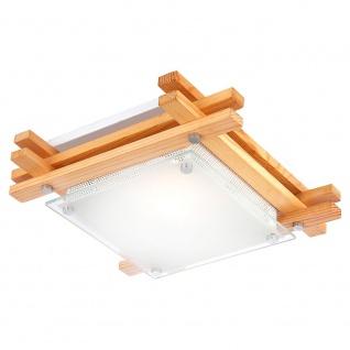 Globo 48323 Edison Holz Deckenleuchte mit satinierten Glas 27 x 27cm Braun