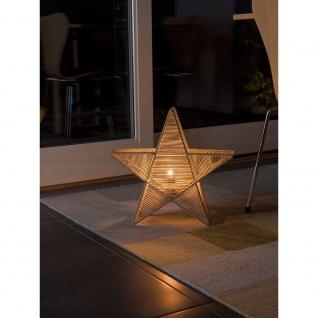 Konstsmide 3556-100 Metallstern mit beigen Baumwollfaden umwickelt inkl. Anschlusskabel mit an/aus Schalter ohne Leuchtmittel E14 Lampenhalterung für Innenbereich