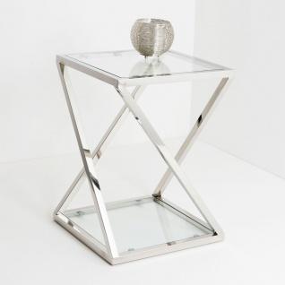 Holländer 209 2506 K Tisch Stellato Klein Edelstahl-Glas Silber-Klar