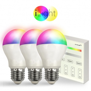 Starter-Set 3x E27 iLight LED + Touch-Panel RGB + CCT LED Leuchtmittel Lampe
