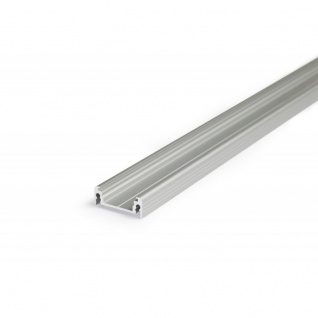 Aufbauprofil flach 200 cm / Alu-eloxiert ohne Abdeckung für LED-Strips