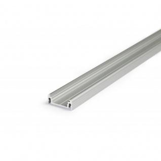 Aufbauprofil flach 200cm / Alu-eloxiert ohne Abdeckung für LED-Strips