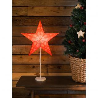 Konstsmide 2991-520 Roter Papierstern, perforiert und mit weiß bedrucktem Muster, 5 Zacken, mit weißem Metall-Fuß, inkl. Anschlusskabel mit an/aus Schalter, ohne Leuchtmittel, E14 Lampenhalterung für Innenbereich