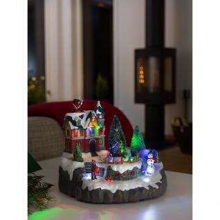 LED Szenerie Wohnhaus mit Weihnachtsbäumen mit Animation 8 bunte Dioden 4.5V batteriebetrieben für Innen