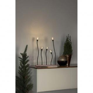 LED Metallleuchter schwarz kupferfarben 2 LED's je Birne 10 warmweiße Dioden Innentrafo