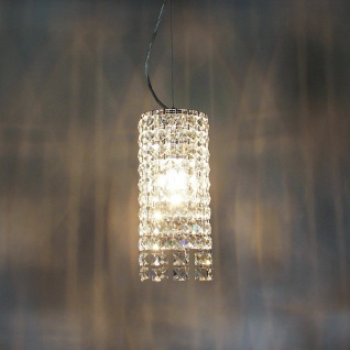 s.LUCE Glint Hängeleuchte mit Kristalle Ø 14cm Chrom Hängelampe