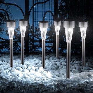 6er-Set Garten Solarleuchten mit Erdspieß 35cm Edelstahl Solar Gartenlampe Gartenleuchte