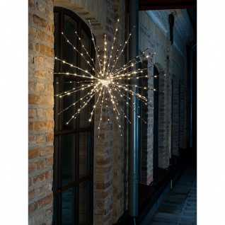LED Stern Lichterball silberfarben mit Funkelfunktion 280 Warmweiße Dioden (24 funkelnde) 24V Außentrafo