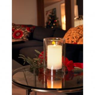 LED Echtwachskerze in Glasvase Lichtsensor 2 warmweiß flackernde Dioden batteriebetrieben für Innen