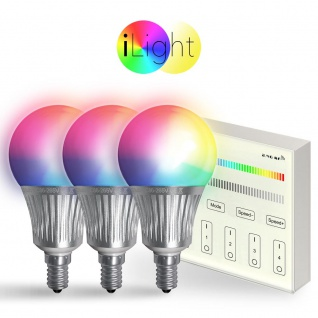 Starter-Set 3x E14 iLight LED + Touch-Panel RGBW LED Leuchtmittel Lampe