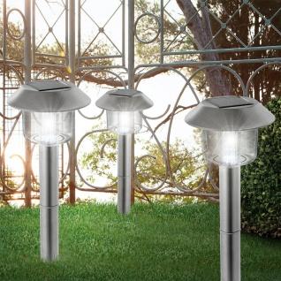 3er-Set LED Solarleuchte Spieß Edelstahl Solar Gartenlampe Gartenleuchte