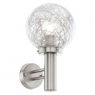 Eglo 93366 Nisia 1 LED Aussen-Wandleuchte Ø 20cm Edelstahl Klar Alu