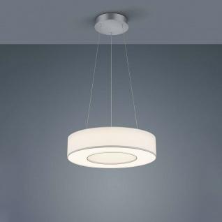 Helestra LED Pendellampe Lomo Nickel-Matt Chrom Schirm Chintz Weiß