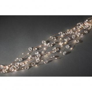 LED Diamantenlametta 10 Stränge mit 9 Dioden 90 Warmweiße Dioden 12V Innentrafo kupferfarbener Draht