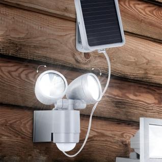 LED Solar-Strahler Druckguß Silberfarben Solar Gartenlampe Gartenleuchte