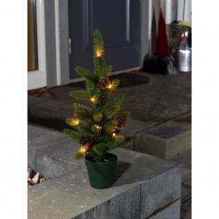 LED Weihnachtsbaum mit Tannenzapfen und Topf klein Timer 10 Warmweiße Dioden batteriebetrieben für Aussen