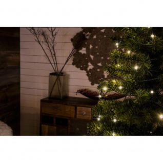 Micro LED Lichterkette gefrostet verschweißt 10 Warmweiße Dioden 24V Innentrafo dunkelgrünes Kabel - Vorschau 4