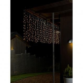 LED Lichtervorhang mit weißen Globes 400 Warmweiße Dioden 24V Außentrafo
