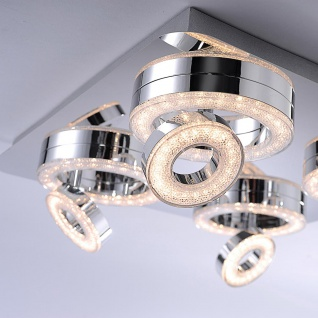 LeuchtenDirekt 14522-17 Tim LED Ring Deckenlampe 4x 2, 85W + 4x 3, 15W 3000K Chrom